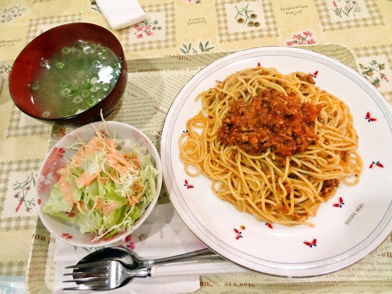 若水の日替わり定食 ミートソーススパゲティー
