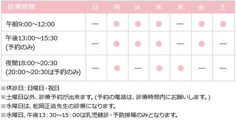 無痛分娩の松岡産婦人科クリニック 神戸市北区 硬膜外麻酔によるお産 診察時間