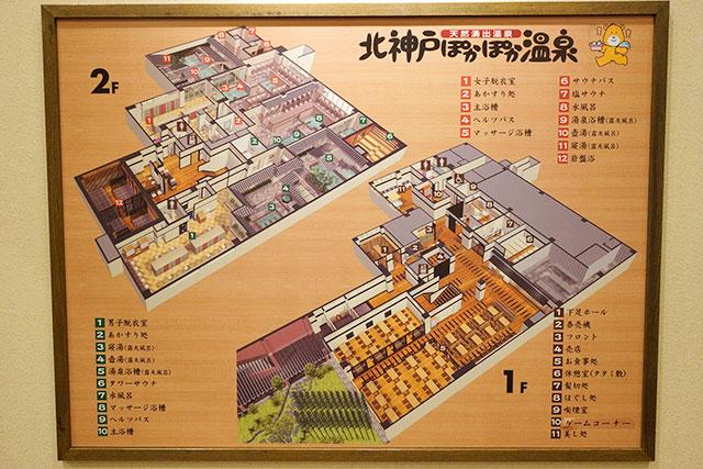 北神戸ぽかぽか温泉の館内図